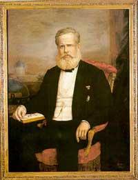 Dom Pedro II. Ao Fundo, é possível ver a cúpula do Imperial Observatório.