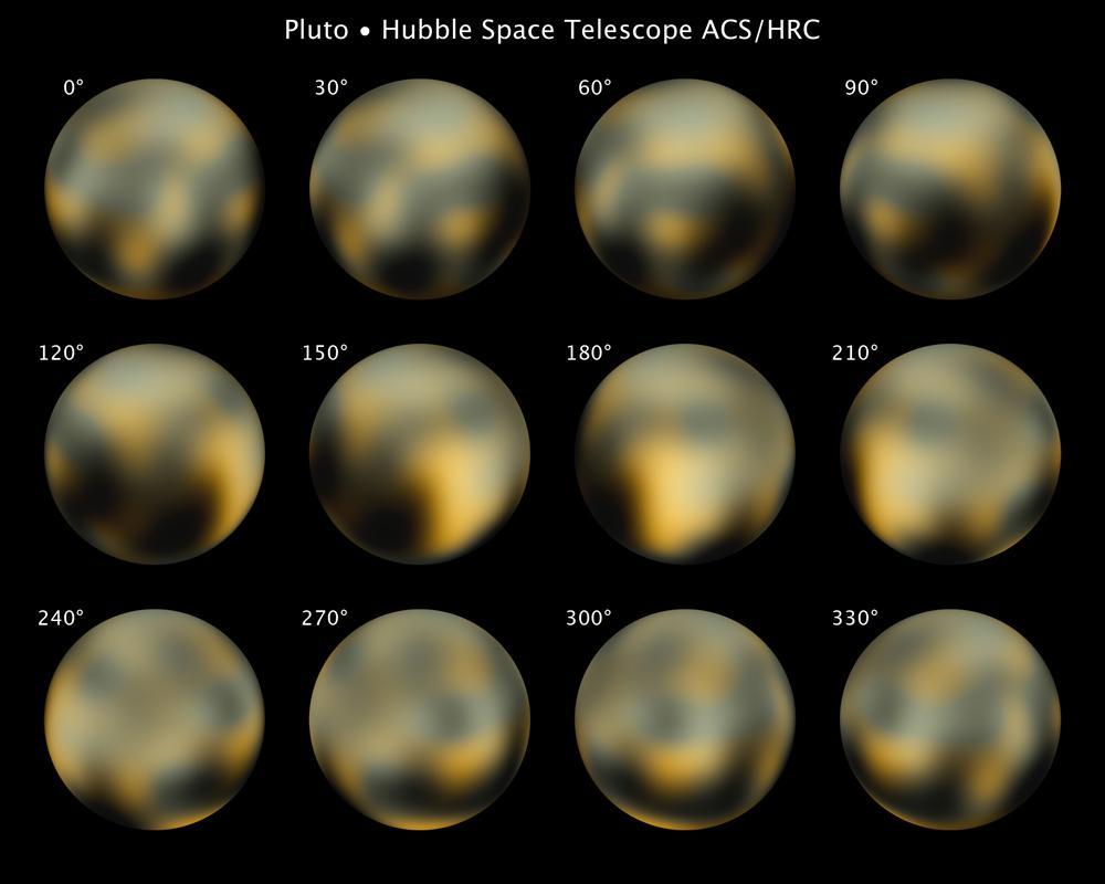 Variações na superfície de Plutão, observadas pelo telescópio espacial Hubble;