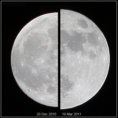 Comparação entre o tamanho aparente da Lua cheia comum e o tamanho da Super Lua de março de 2011. Perceptível com uma máquina fotográfica, mas imperceptível à vista desarmada (foto de Marcoaliaslama)