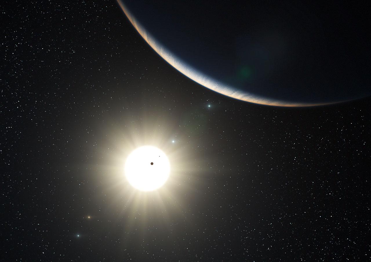 Concepção artística do sistema planetário da estrela HD10180 (http://www.eso.org/public/images/eso1035a/)