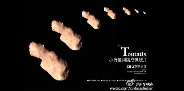 Sequência de fotos de 4179 Toutatis, pela sonda chinesa Chang'e 2.