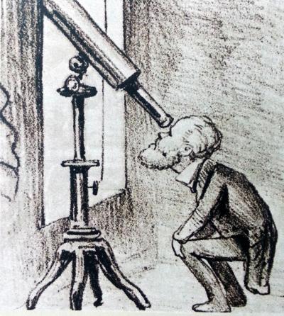Charge satirizando o interesse do Imperador pela Astronomia
