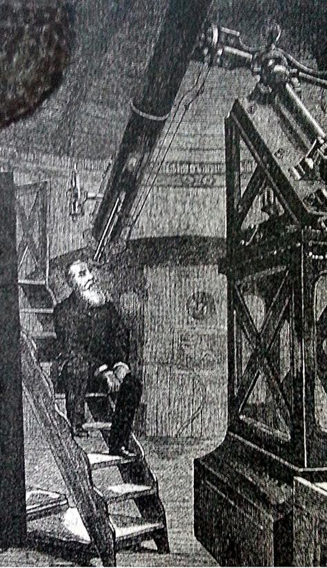 D. Pedro II observando o planeta Vênus na luneta de 24 cm.