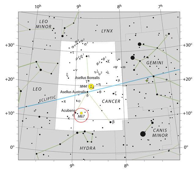 Localização de M67 ba constelação do Cêncer (Fonte: ESO)