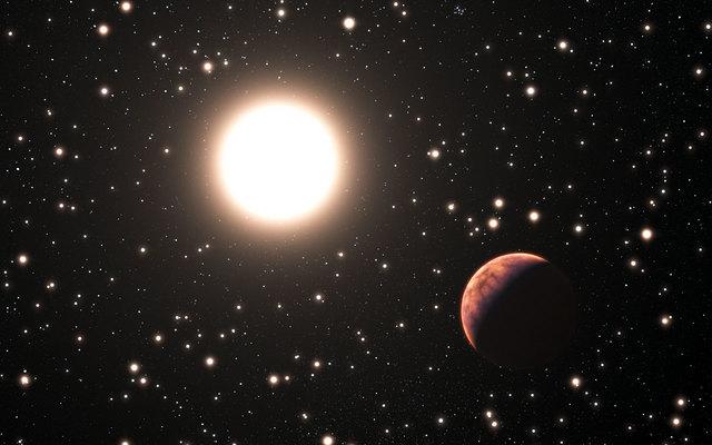 Concepção artística de um dos três planetas descobertos no aglomerado M67 (Fonte: ESO)