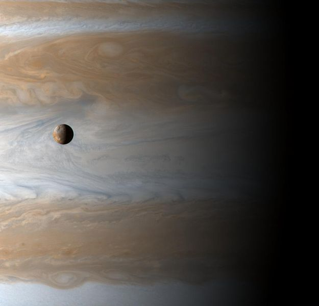 Trânsito do satélite Io em Júpiter. (Fonte: NASA)