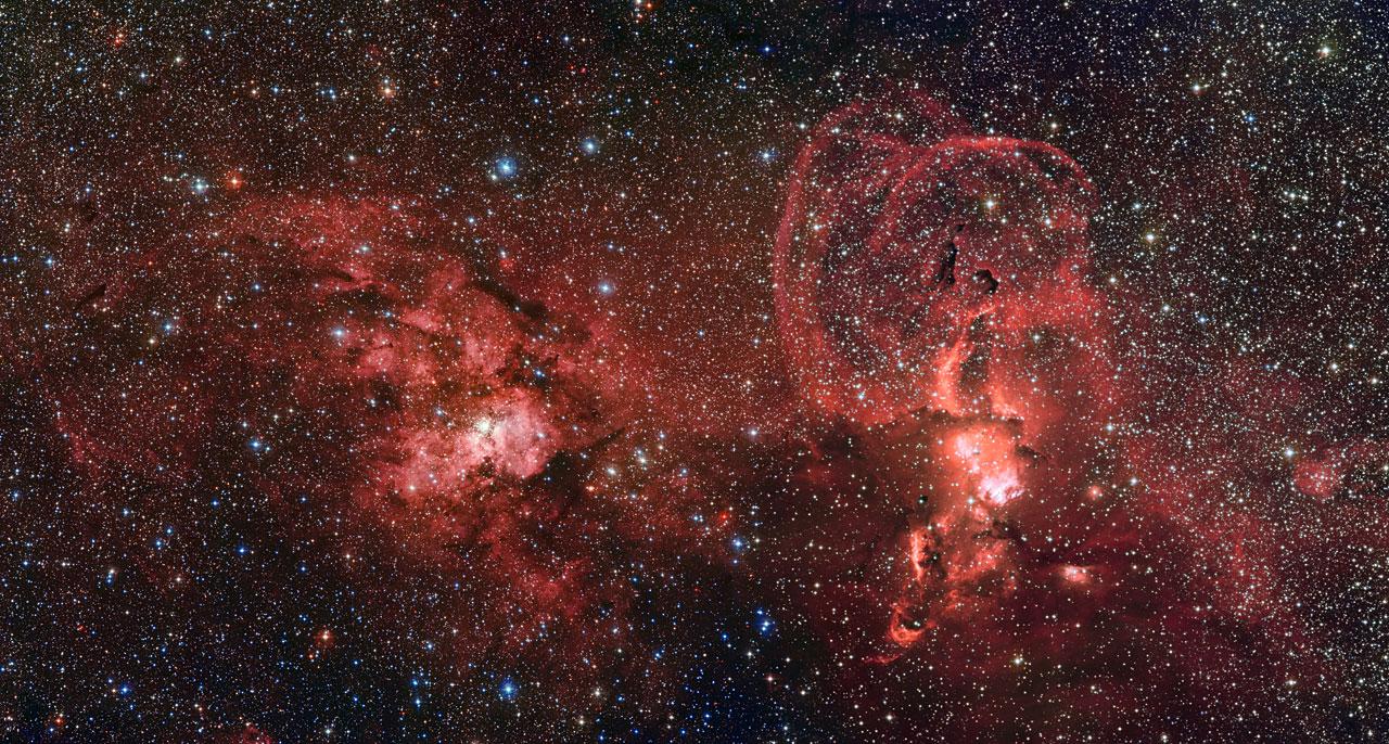 Região de HII pegando o aglomerado aberto NGC 3603 e a nebulosa NGC 3576 (Fonte: ESO)