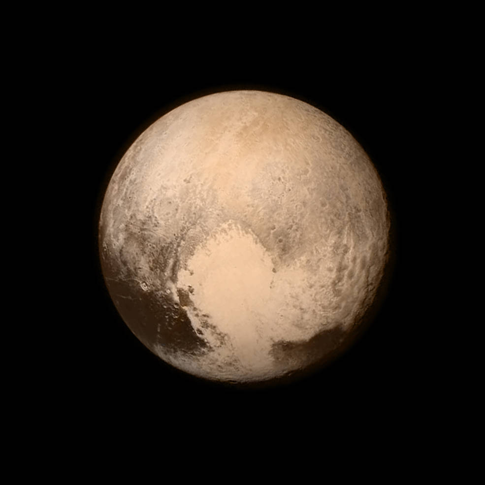 Imagem de Plutão tomada pela sonda New Horizons a uma distância de 12.500 Km.