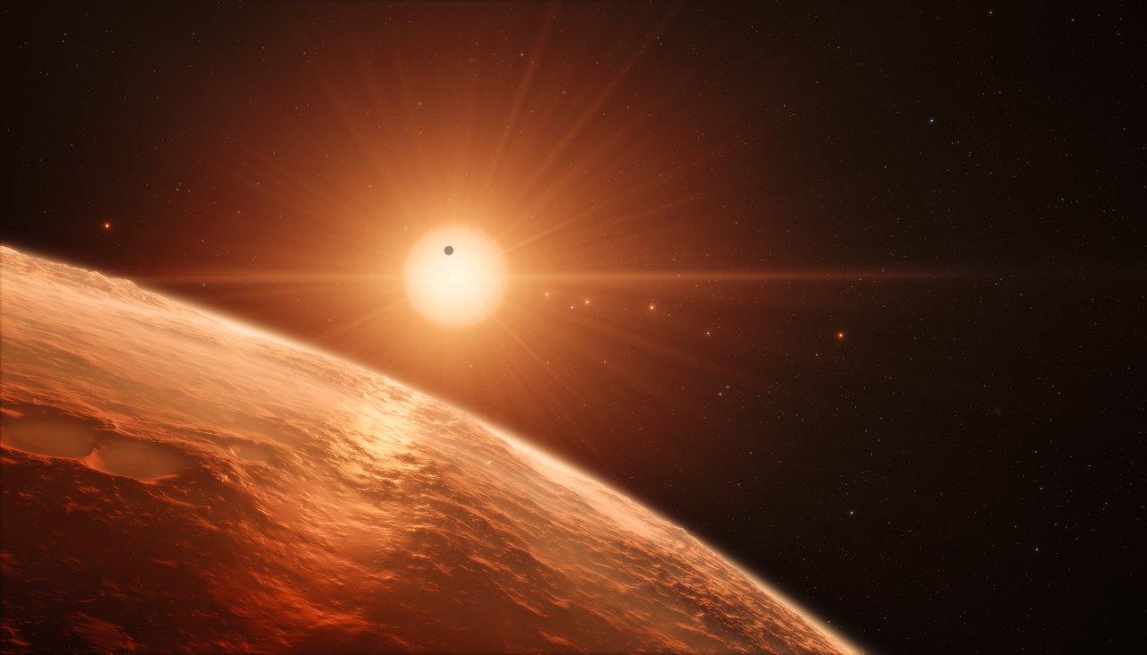 Os Sete Planetas e a Estrela Anã Vermelha